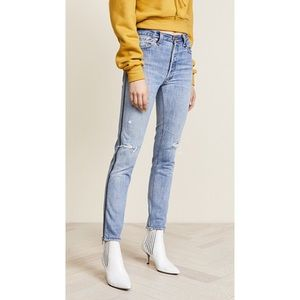 High Rise Side Zip Jeans